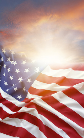 American flag and bright sky