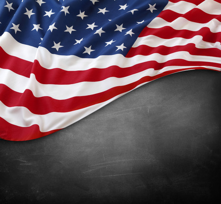usa flag: American flag on a blackboard Stock Photo