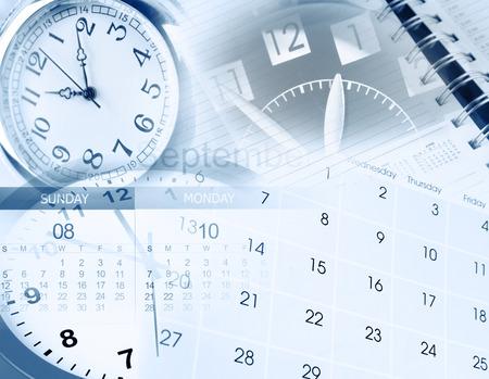 Clock faces, calendar and diary photo