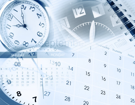 Clock faces, calendar and diary photo