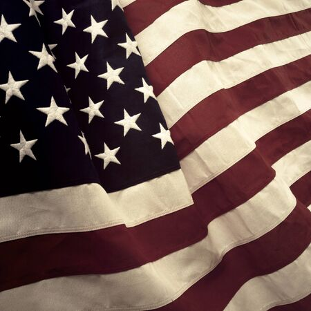 american flag: Closeup of rippled American flag