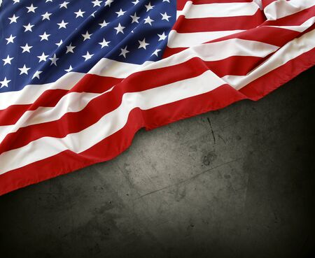 advertise with us: Closeup of American flag on grey background