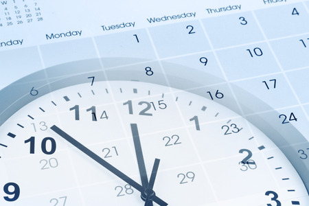 time of the day: Clock face and calendar composite Stock Photo