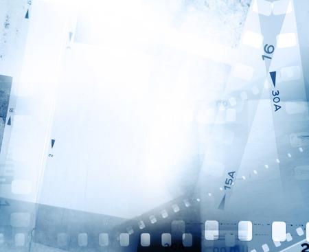 negative space: Film negative frames on blue background