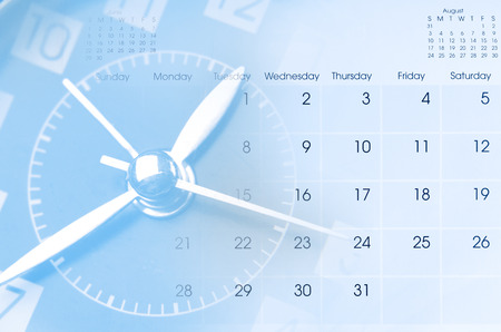 calendar day: Clock face and calendar composite Stock Photo