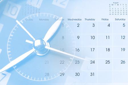 Clock face and calendar composite Standard-Bild