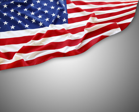 American flag on grey background