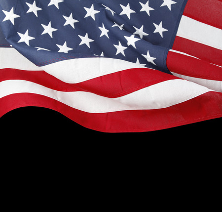 Closeup of American flag on black