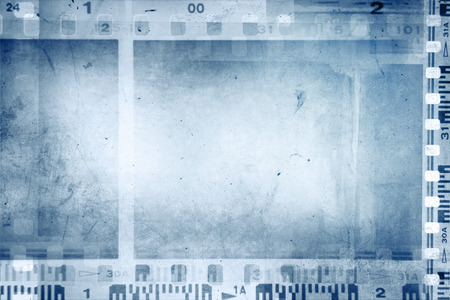 film strip: Film negative frames on blue background