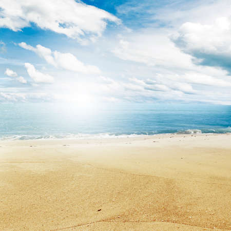 scenery: Sand, water and sky beach scenery Stock Photo