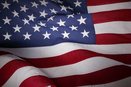 american: Closeup of rippled American flag