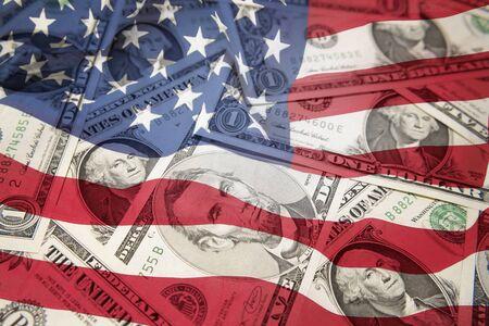 Drapeau américain sur les billets assortis