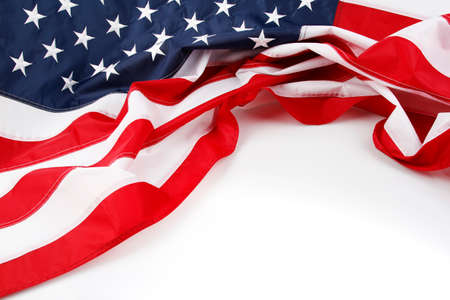 white flag: American flag on plain background, copy space