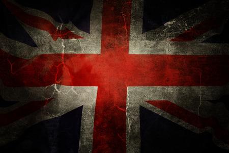 Closeup of grunge Union Jack flag photo