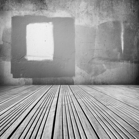 Wooden floorboards and blank wall photo