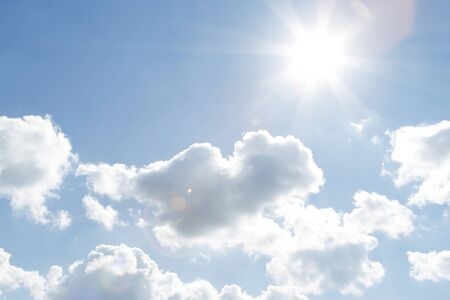 bright sky: Bright sun in blue sky