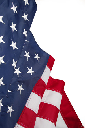 American flag on plain background, copy space