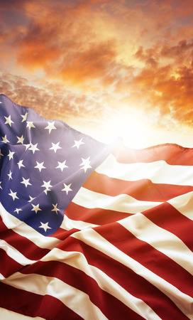 american flag: American flag and bright sky