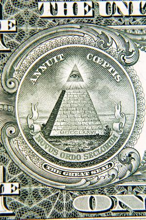 one dollar bill: Macro closeup of American banknote