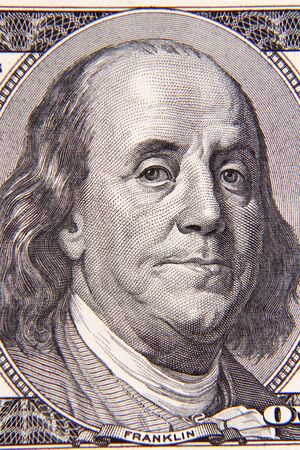 ben franklin money: Benjamin Franklin on one hundred dollar banknote closeup
