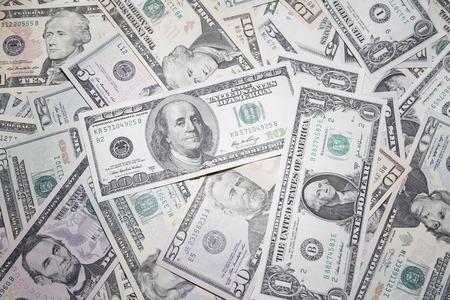 dinero: Primer plano de los billetes americanos surtidos