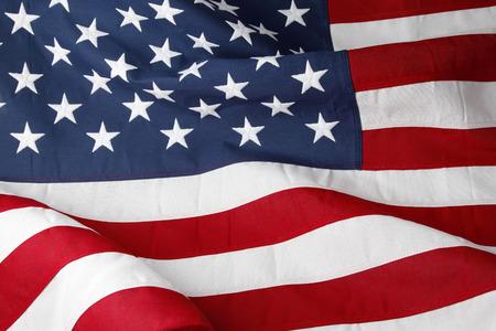 united nations: Closeup of ruffled American flag