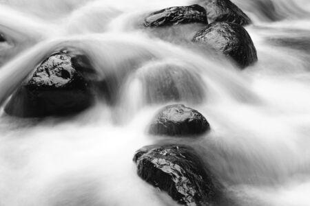flujo: Rápido arroyo de montaña que fluye y rocas