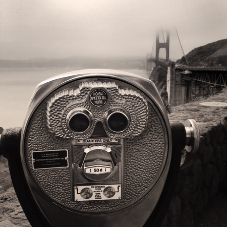visions of america: Coin operated binoculars, Golden Gate bridge, San Francisco