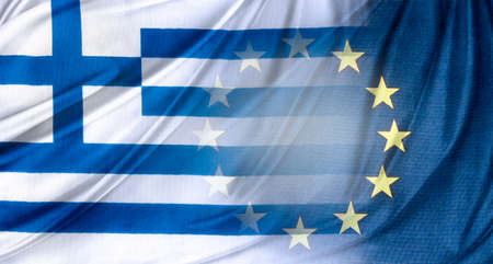 blending: Greek and Europe flags blending together Stock Photo