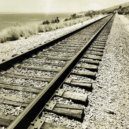 railway tracks: Railway tracks vanishing into the distance