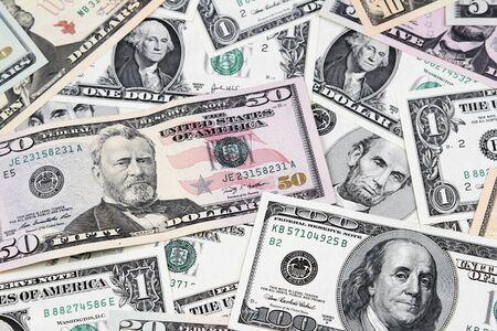 factura: Primer plano de los billetes americanos surtidos