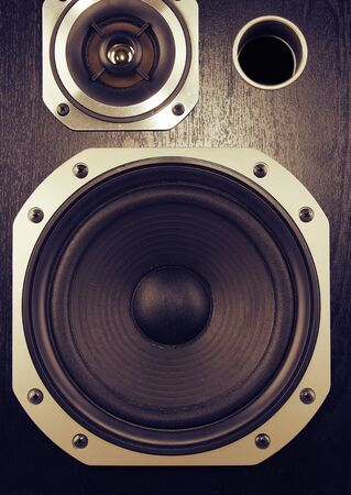 entertainment equipment: Closeup of stereo speakers