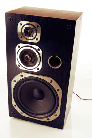 entertainment equipment: Stereo speaker on plain background Stock Photo