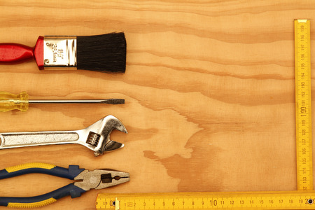 work tools: Assorted work tools on wood