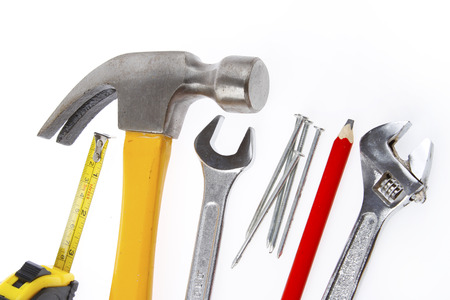 assortment: Assortment of tools on plain background