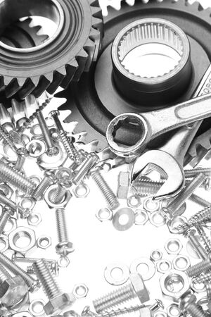 fasteners: Steel gears, nuts, bolts, and wrenches