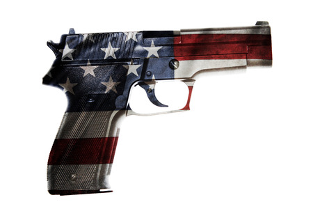 1 object: Handgun and American flag composite Stock Photo