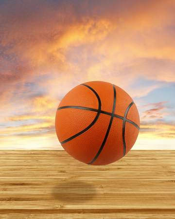 sport object: Basketball, wooden floor and sky