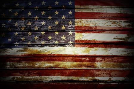 Closeup of American flag on boards Archivio Fotografico