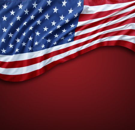 advertise with us: American flag on red background
