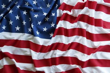usa: Closeup of ruffled American flag