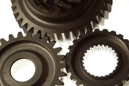 joining together: Metal cog gears joining together