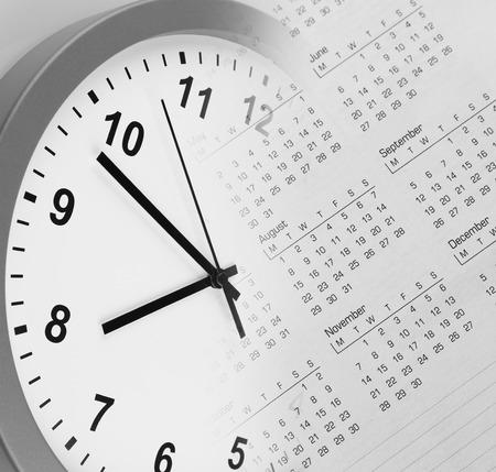 clock face: Clock face and calendar composite Stock Photo