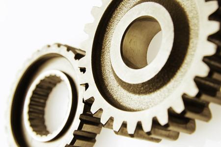 gear cog: Closeup of two metal cog gears
