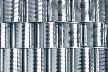 food store: Tin cans stacked on each other Stock Photo
