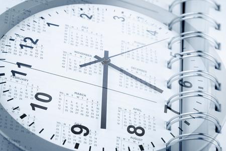 agenda year planner: Clock face and diary calendar