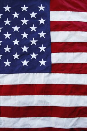 ruffled: Closeup of ruffled American flag