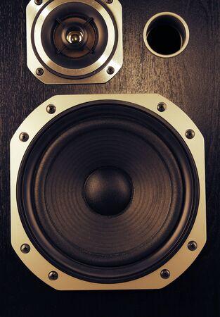 equipo de sonido: Primer plano de altavoces estéreo
