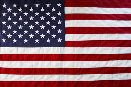 Closeup of American flag stars and stripes Stock Photo