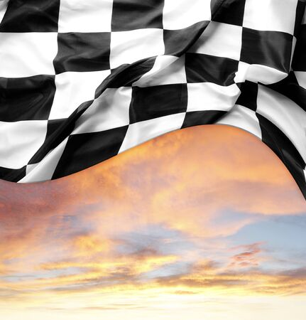 finishing: Checkered flag and bright sky